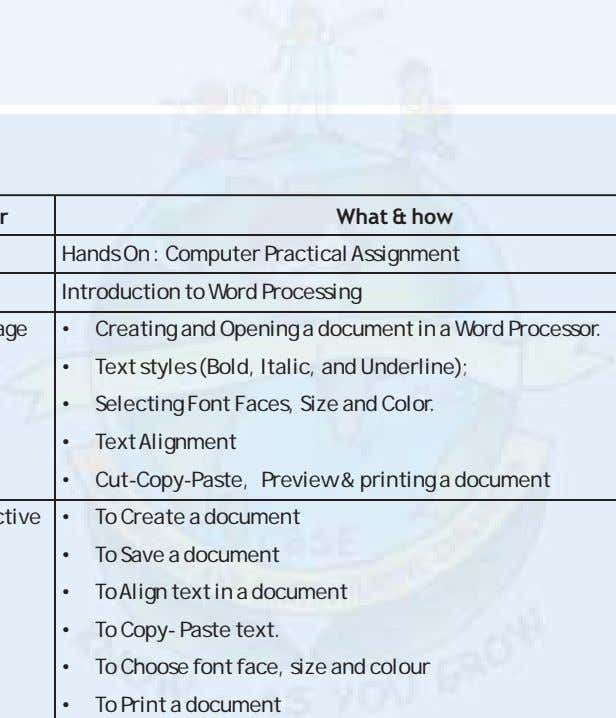 What & how Hands On : Computer Practical Assignment Introduction to Word Processing • Creating