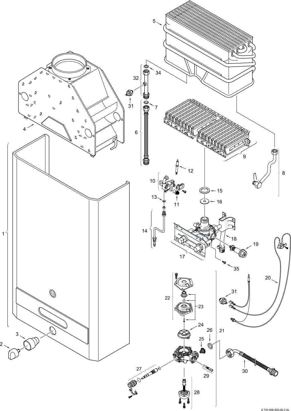 Fig. 13 - INTERIOR COMPONENTS DIAGRAM AND PARTS LIST 20 6 720 607 030