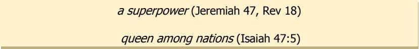a superpower (Jeremiah 47, Rev 18) queen among nations (Isaiah 47:5)