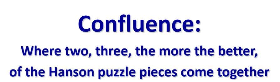 Confluence: Where two, three, the more the better, of the Hanson puzzle pieces come together