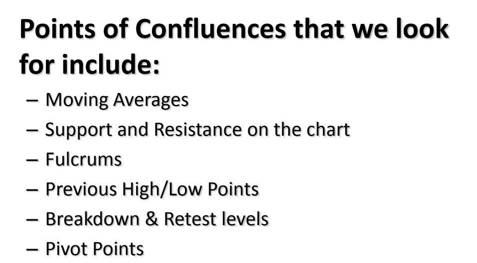 Points of Confluences that we look for include: – Moving Averages – Support and Resistance