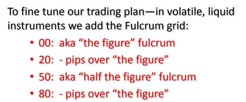 To fine tune our trading plan—in volatile, liquid instruments we add the Fulcrum grid: •