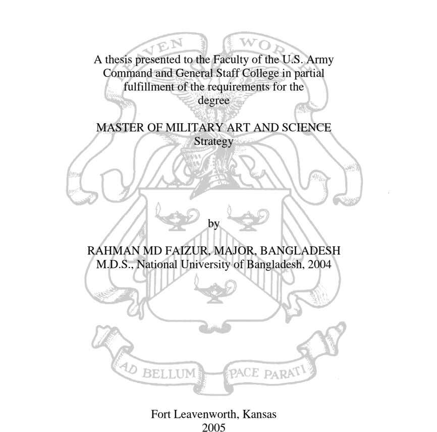 A thesis presented to the Faculty of the U.S. Army Command and General Staff College