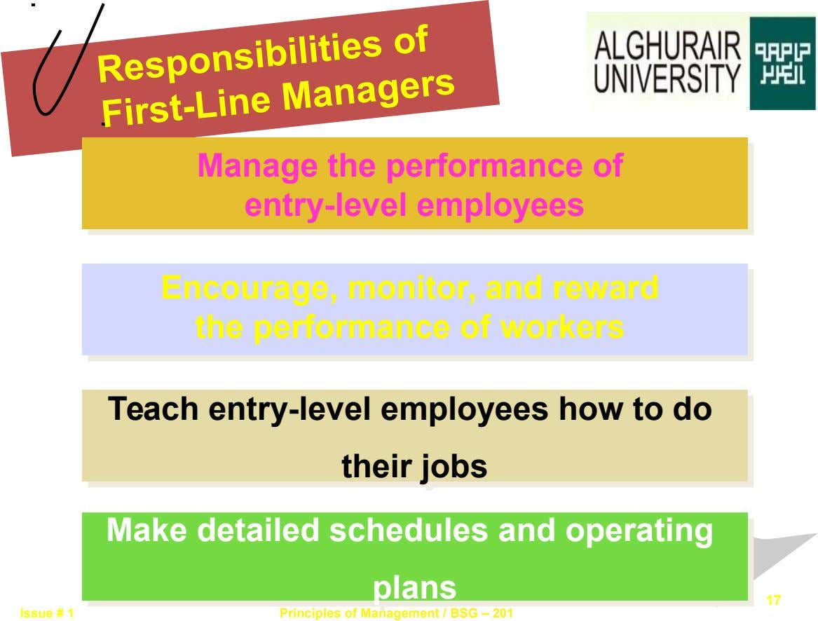 Responsibilities of First-Line Managers Manage the performance of Manage the performance of entry-level employees entry-level employees