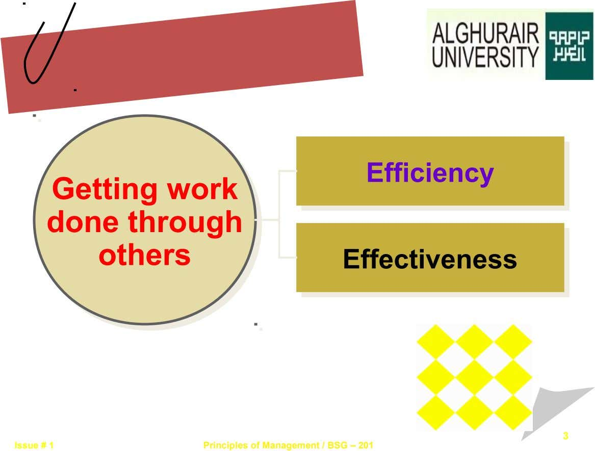 Efficiency Efficiency Getting work Getting work done through done through others others Effectiveness Effectiveness 3 Issue