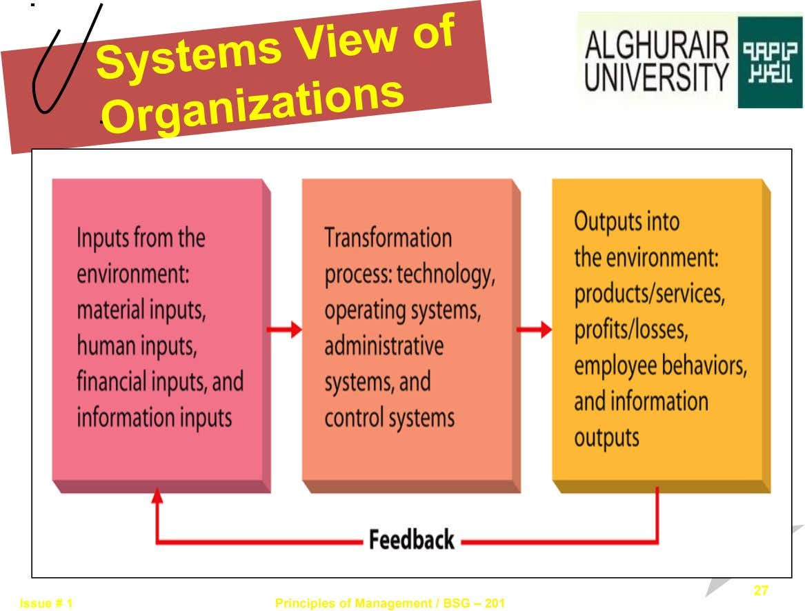 Systems View of Organizations 27 Issue # 1 Principles of Management / BSG – 201