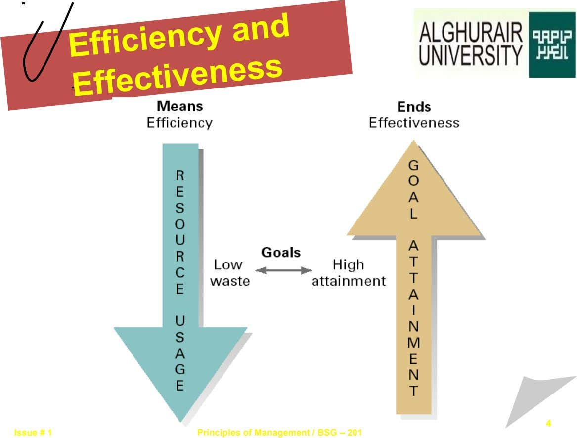 Efficiency and Effectiveness 4 Issue # 1 Principles of Management / BSG – 201