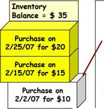 Inventory Balance = $ 35 Purchase on 2/25/07 for $20 Purchase on 2/15/07 for $15
