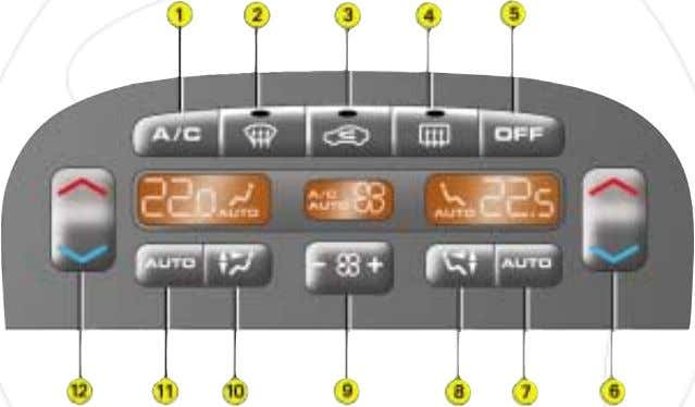 12 Passenger setting. AUTOMATIC AIR CONDITIONING Do not cover the sunshine / brightness sensor located in