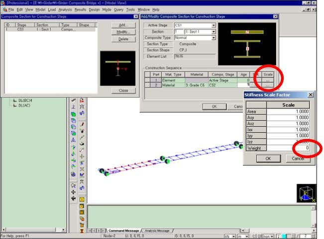 Construction Stage Analysis of a Bridge Using a Composite Secti on The girders (Part 1) will