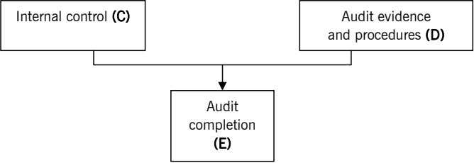 Internal control (C) Audit evidence and procedures (D) Audit completion (E)