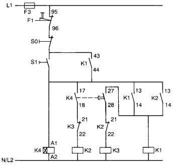 Typical circuit diagram of Star Delta starter Main circuit Control circuit for push button control