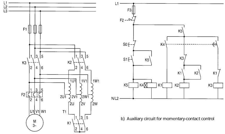 b) Auxiliary circuit for momentary-contact control