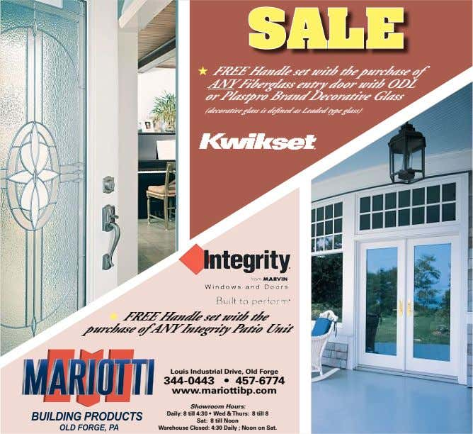SALE ★ FREE Handle set with the purchase of ANY Fiberglass entry door with ODL