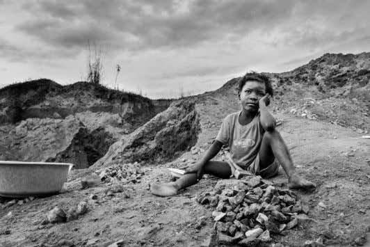 famine and can provide evidence of human rights violations. Child labour in a quarry - near