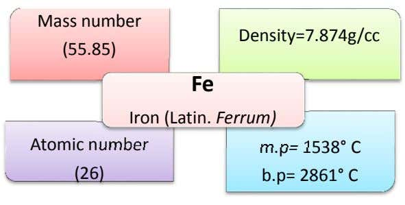 LECTURE-1 Introduction to Iron Making Introduction Iron is a chemical element with symbol Fe (from Latin