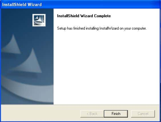 Systems, Inc. Installation is now complete. Click Finish . To access the Installation Wizard screen, click