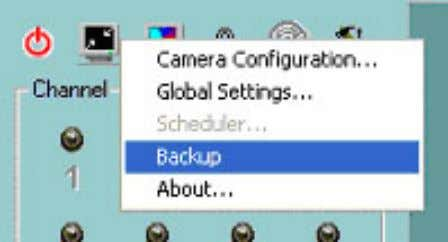 "global settings window, you can backup recorded data by clicking ""Backup"" in the Configuration Menu, as"