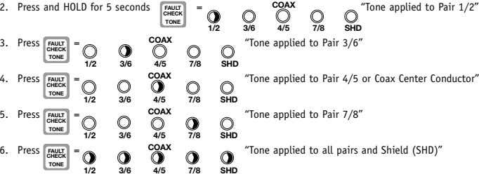 "2. Press and HOLD for 5 seconds = COAX ""Tone applied to Pair 1/2"" FAULT CHECK"