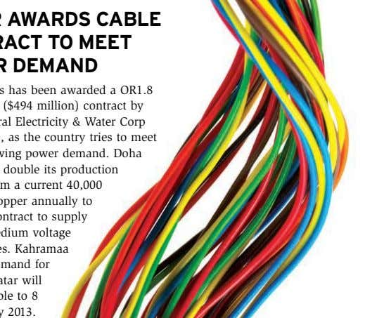 Doha Cables has been awarded a OR1.8 billion riyal ($494 million) contract by Qatar General