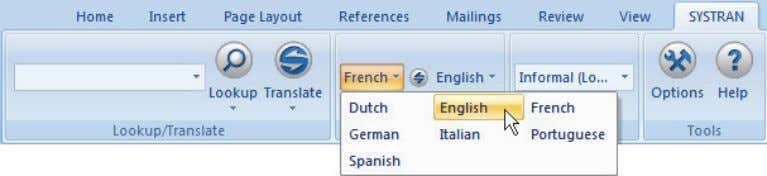dropdown lists to change the source or target language. 3) Select a Profile to apply for