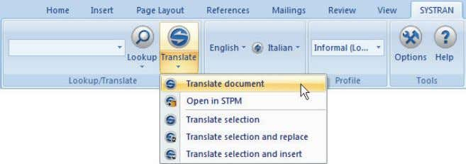 in the tab group and indicate Document . Translate The translated file appears in a new