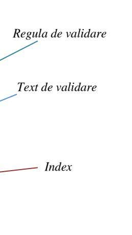 Regula de validare Text de validare Index