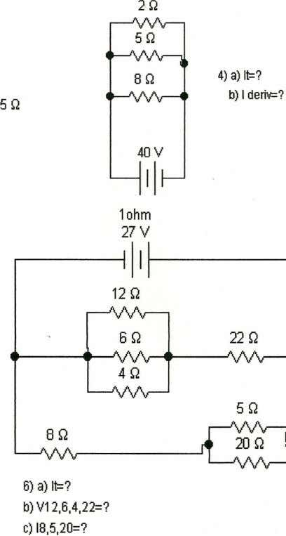 2Q 5Q SQ 4) a) It=? b) I deri\o=? 5Q 40V 11 l ohm 27V