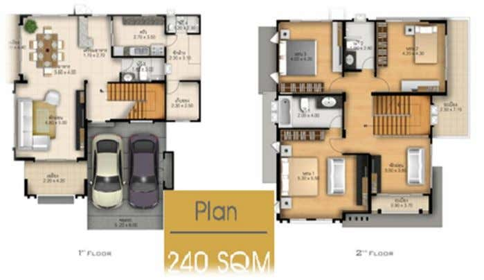 Type B There are 240 SQM 3 bed rooms, 3 bath rooms, 1houskeeping room, 2 parking