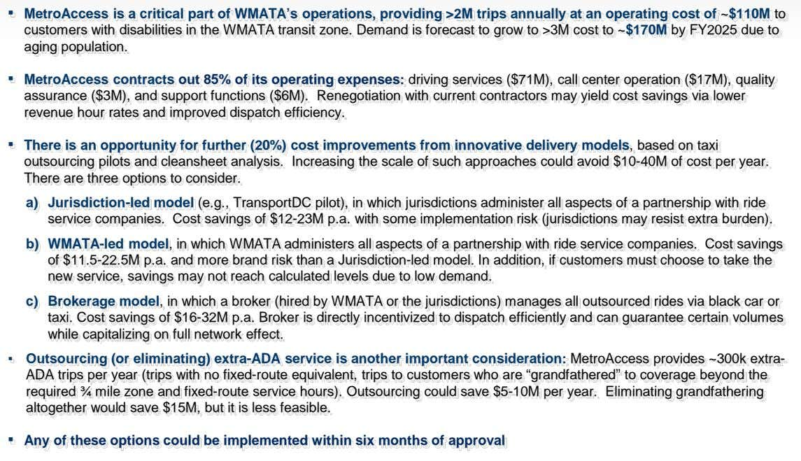 ▪ MetroAccess is a critical part of WMATA's operations, providing >2M trips annually at an