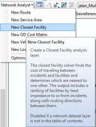 III.2.4 Closest Facility 1. Pada network analyst pilih new closest facility. Gambar III-29 New closest facility
