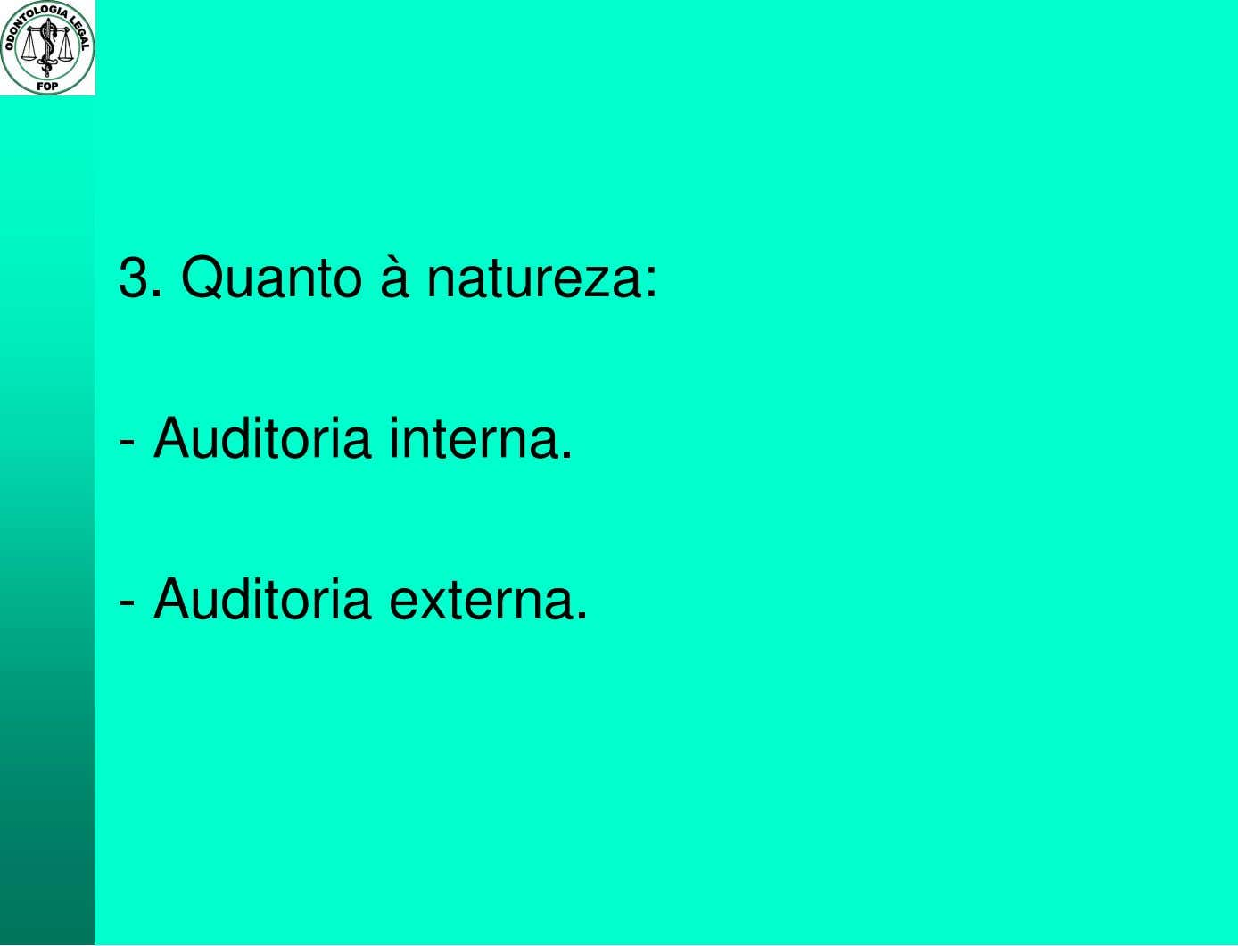 3. Quanto à natureza: - Auditoria interna. - Auditoria externa.