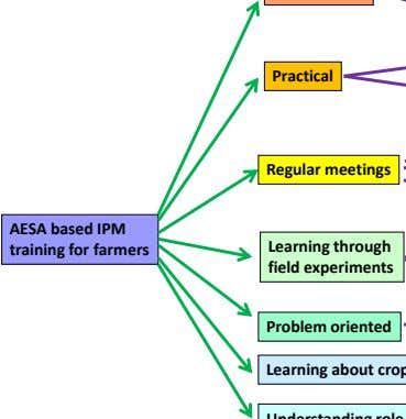 Practical Regular meetings AESA based IPM Learning through training for farmers field experiments Problem oriented