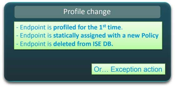Profile change - Endpoint is profiled for the 1 st time. - Endpoint is statically
