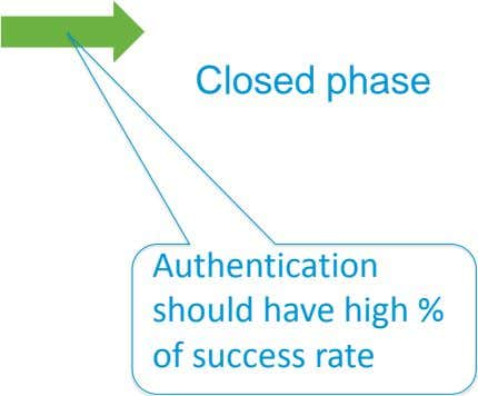 Closed phase Authentication should have high % of success rate