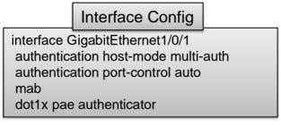 Interface Config interface GigabitEthernet1/0/1 authentication host-mode multi-auth authentication port-control auto