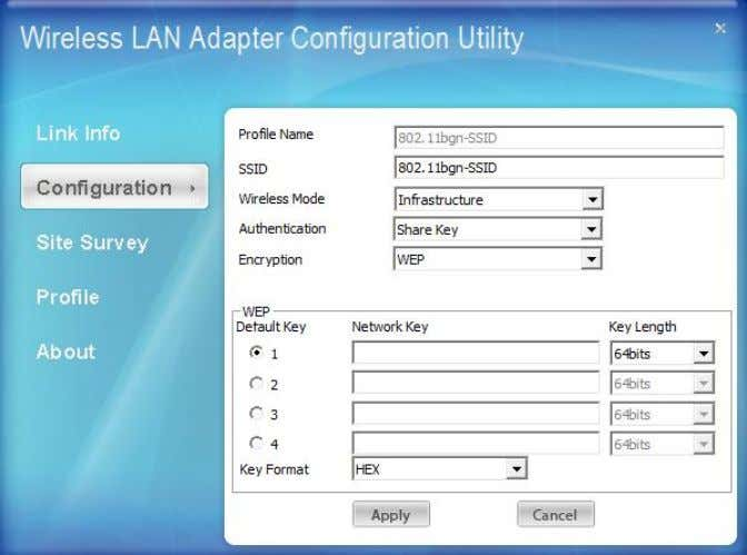 wireless settings for the Wireless LAN USB 2.0 Adapter. Profile Name: The default name is the
