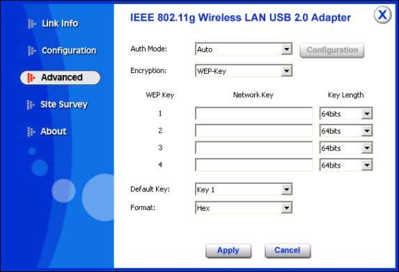 to adjust with wireless devices in certain environment. Auth. Mode: Eight options are available: Disa ble,