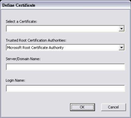 window is pop up. Then, please select the certificate that user wants to use and enter