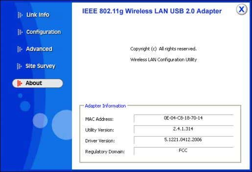 802.11g Wireless USB 2.0 Adapter information, it shows MAC address, Utility Version, Driver Version, Regulatory Domain.