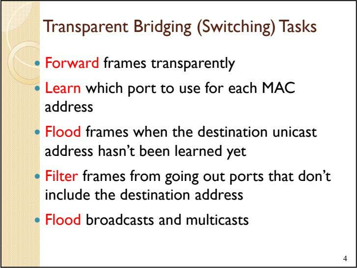 Transparent Bridging (Switching) Tasks Forward frames transparently Learn which port to use for each MAC