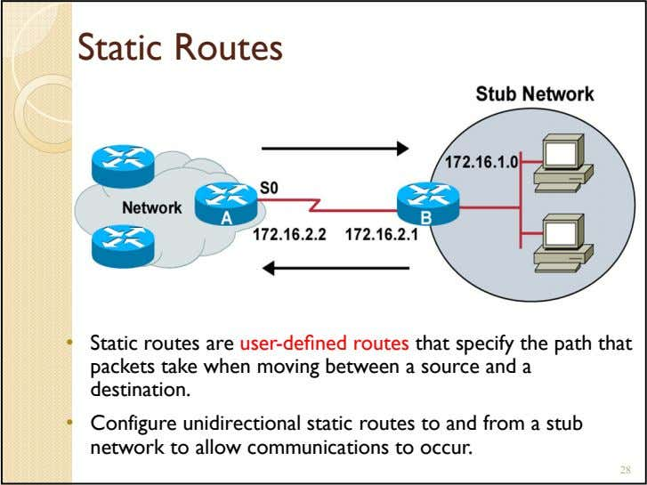 Static Routes • Static routes are user-defined routes that specify the path that packets take