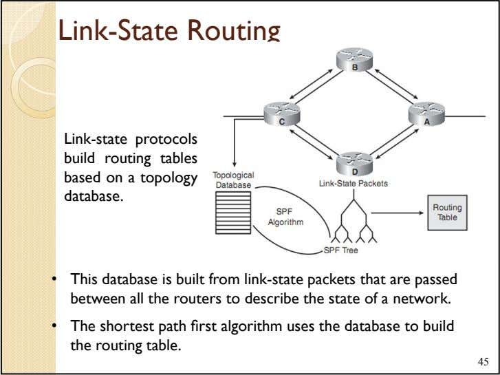 Link-State Routing Link-state protocols build routing tables based on a topology database. • This database