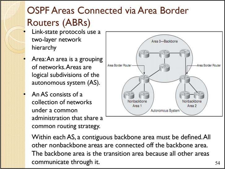 OSPF Areas Connected via Area Border Routers (ABRs) • Link-state protocols use a two-layer network