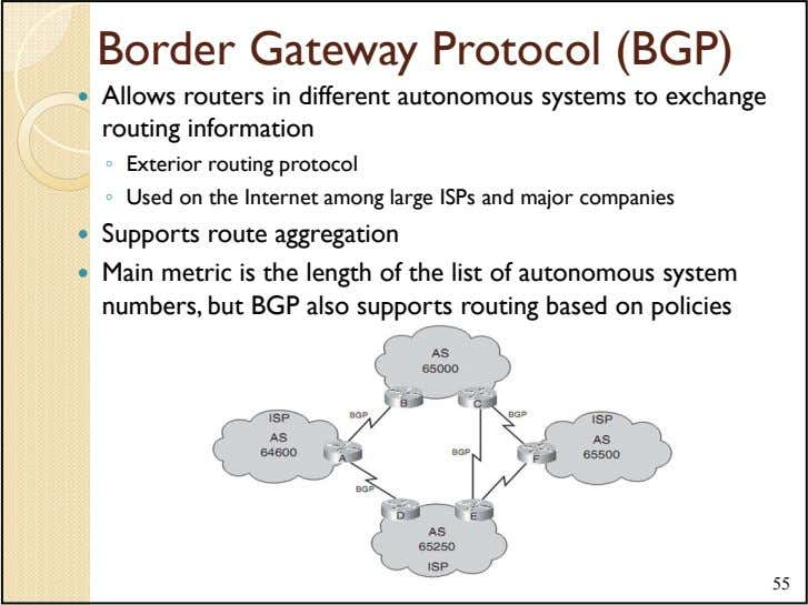 Border Gateway Protocol (BGP) Allows routers in different autonomous systems to exchange routing information ◦