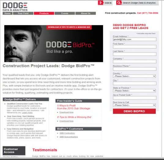 BidPro on its website and elsewhere, as shown below: 76. Dodge owns United States trademark registration