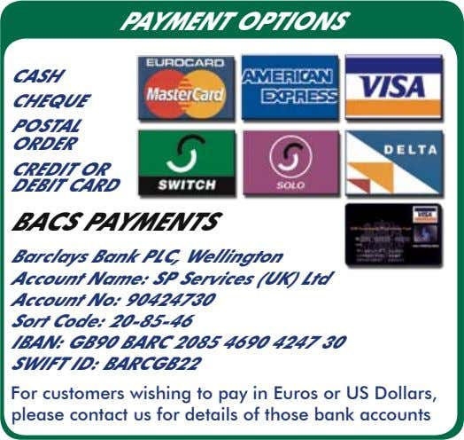PAYMENT OPTIONS CASH CHEQUE POSTAL ORDER CREDIT OR DEBIT CARD BACS PAYMENTS Barclays Bank PLC,