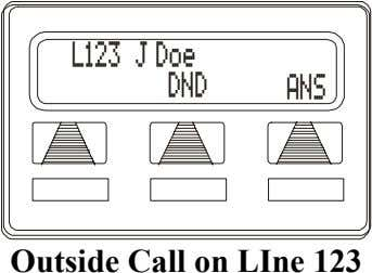L123 J Doe DND ANS Outside Call on LIne 123