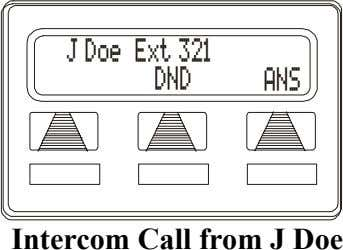 J Doe Ext 321 DND ANS Intercom Call from J Doe