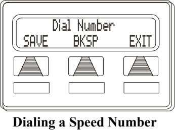 Dial Number SAVE BKSP EXIT Dialing a Speed Number